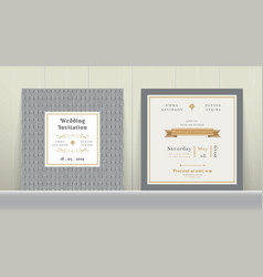 Art deco wedding invitation card in gold and gray vector