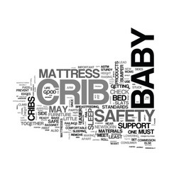 Baby cribs safety checklist text word cloud vector