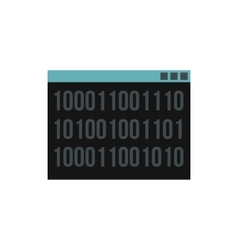 Binary code on screen icon flat style vector image vector image