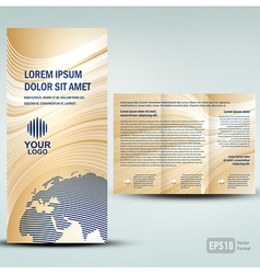 Brochure 3d line globe tri-fold vector