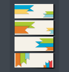 Businesscard template with colorful ribbons in vector