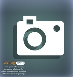 camera icon On the blue-green abstract background vector image