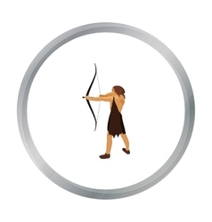 Caveman with bow and arrow icon in cartoon style vector image