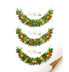 Christmas set of three garland with fir tre vector