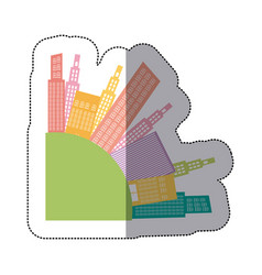 Colorful round city builds icon vector