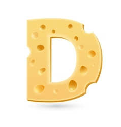D cheese letter Symbol isolated on white vector image vector image