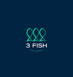 fish market logo vector image vector image