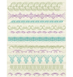 floral decorative borders ornamental rules divider vector image vector image
