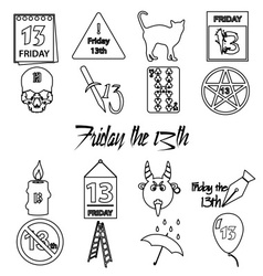 Friday the 13 bad luck day outline icons set eps10 vector