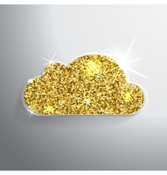 Golden glitter shining cloud on a vector