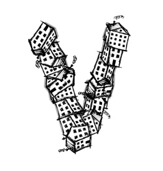 Letter v made from houses alphabet design vector