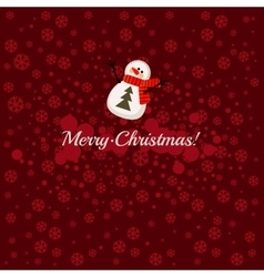 Merry Christmas postcard with snowman vector image vector image