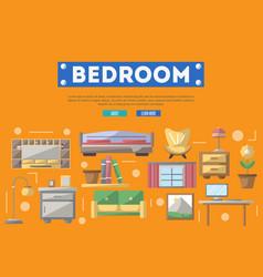 modern bedroom interior decoration poster vector image