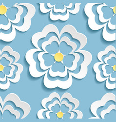 Modern seamless pattern with 3d sakura flower vector