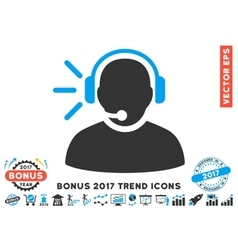 Operator Message Flat Icon With 2017 Bonus Trend vector image vector image