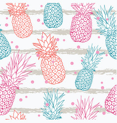 pineapple on grunge stripes summer colorful vector image