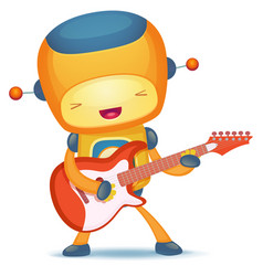 robot playing guitar vector image vector image