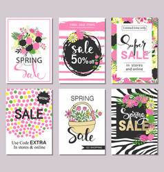 set of flat and hand drawn spring cards and labels vector image vector image