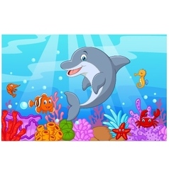 Standing dolphin with collection fish vector