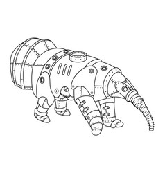 Steam punk style anteater coloring book vector