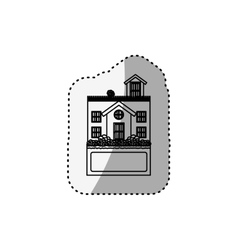Sticker silhouette house with terrace and label vector