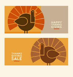 thanksgiving turkey banner designs vector image