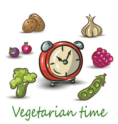 vegetarian time on white background vector image