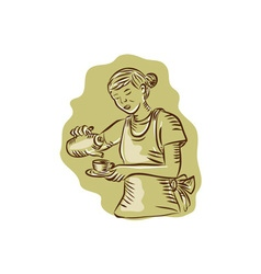 Waitress pouring tea cup vintage etching vector