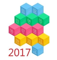 Calendar for 2017 year design stationery vector