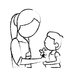 Sketch mother and son flower vector