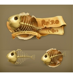 Fish skeleton icon vector