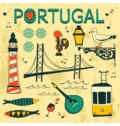 Portugal tipical icons collection vector