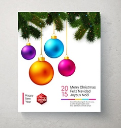 Christmas card with bright and colorful christmas vector