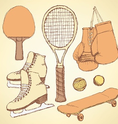 Sketch sport equipment vector