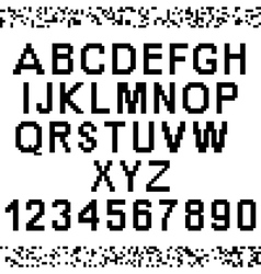 Upper-case pixel letters and numbers vector