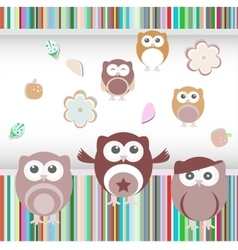 happy birthday party owls set vector image