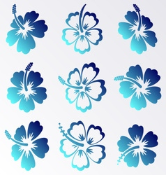Hibiscus silhouette icons vector image