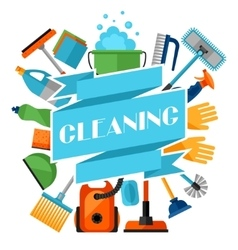 Housekeeping background with cleaning icons image vector