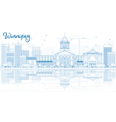 Outline winnipeg skyline with blue buildings vector