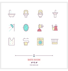 Bath room line icons set vector