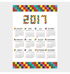 2017 wall calendar from little color bricks eps10 vector