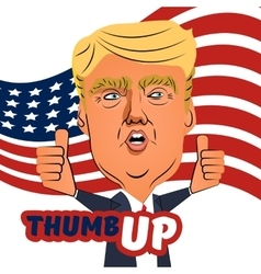August 04 2016 donald trump thumb up cartoon vector