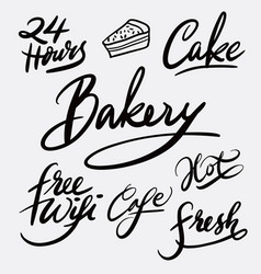 bakery and cake hand written typography vector image