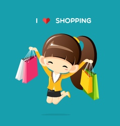 Businesswoman jumping in the air with shopping bag vector