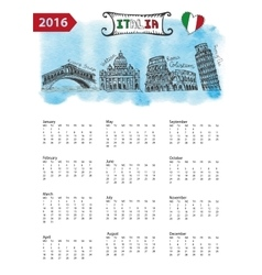 Calendar 2016Italy Landmarks skylinewatercolor vector image