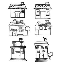Collection of house set doodle vector