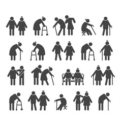Elderly people icons vector