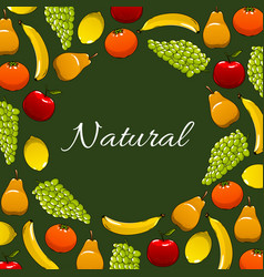 fresh natural fruits poster vector image vector image