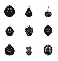 fruit character icon set simple style vector image vector image
