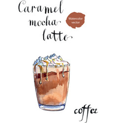 Glass of caramel latte coffee with whipped cream vector